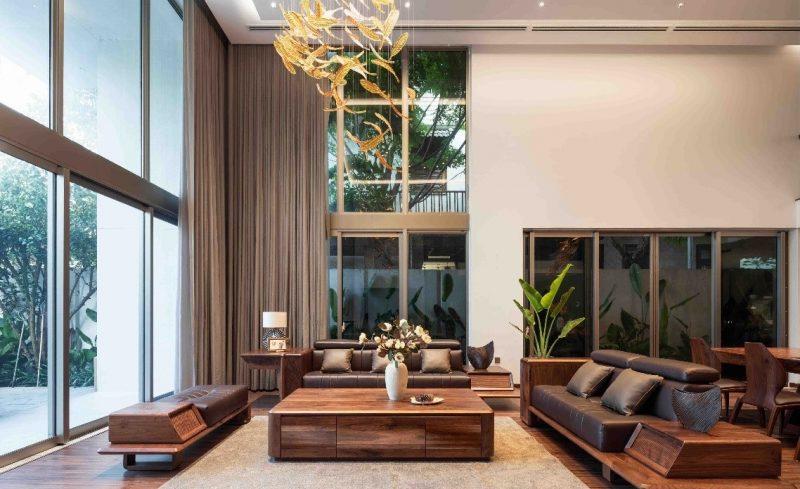 phòng khách hiện đại của nhà gỗ