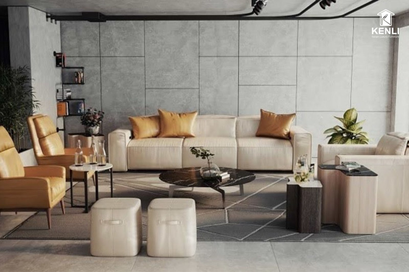 sofa da nhập khẩu ý Esterel